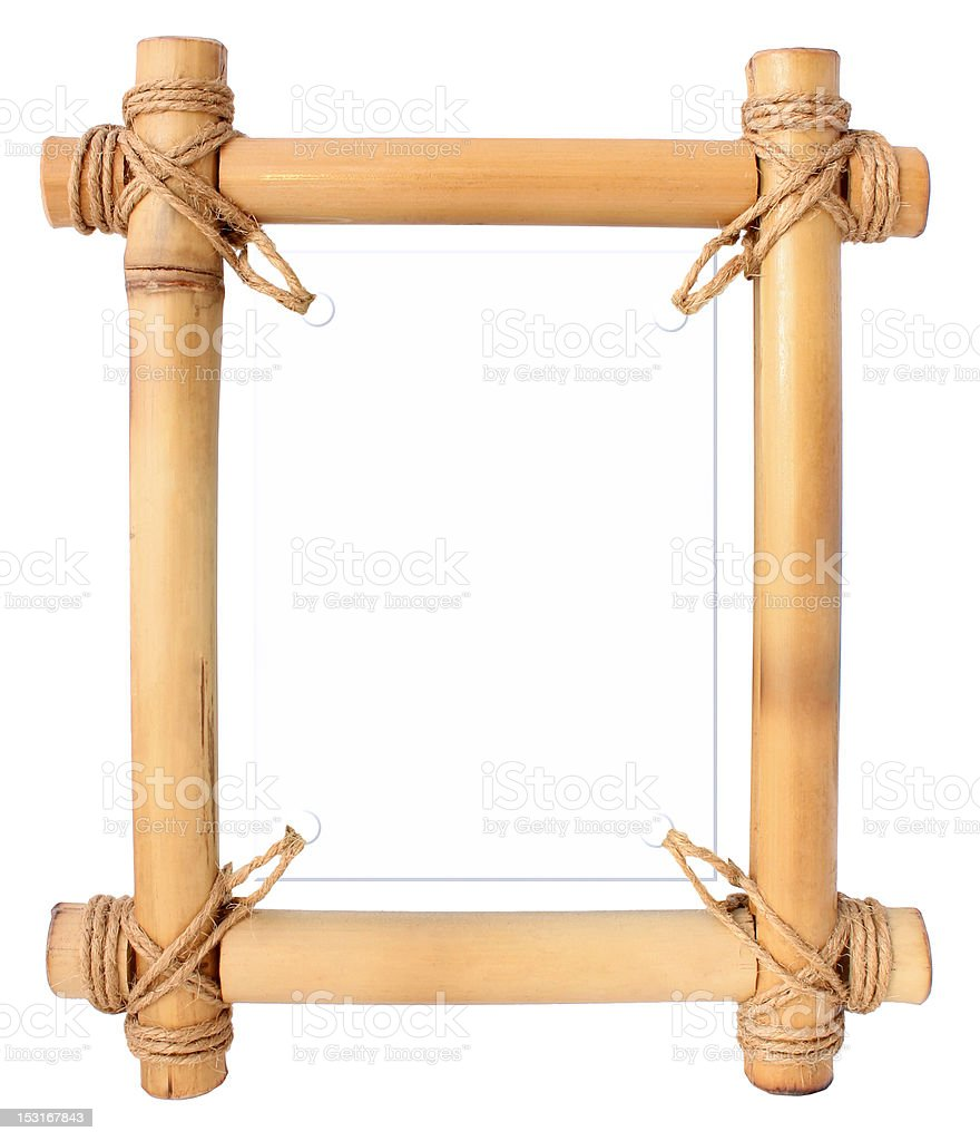 Bamboo frame with white area for your text stock photo