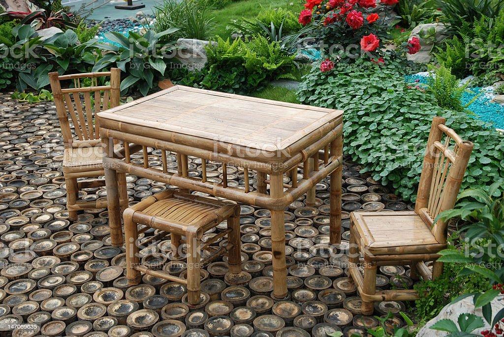 Bamboo furniture stock photo
