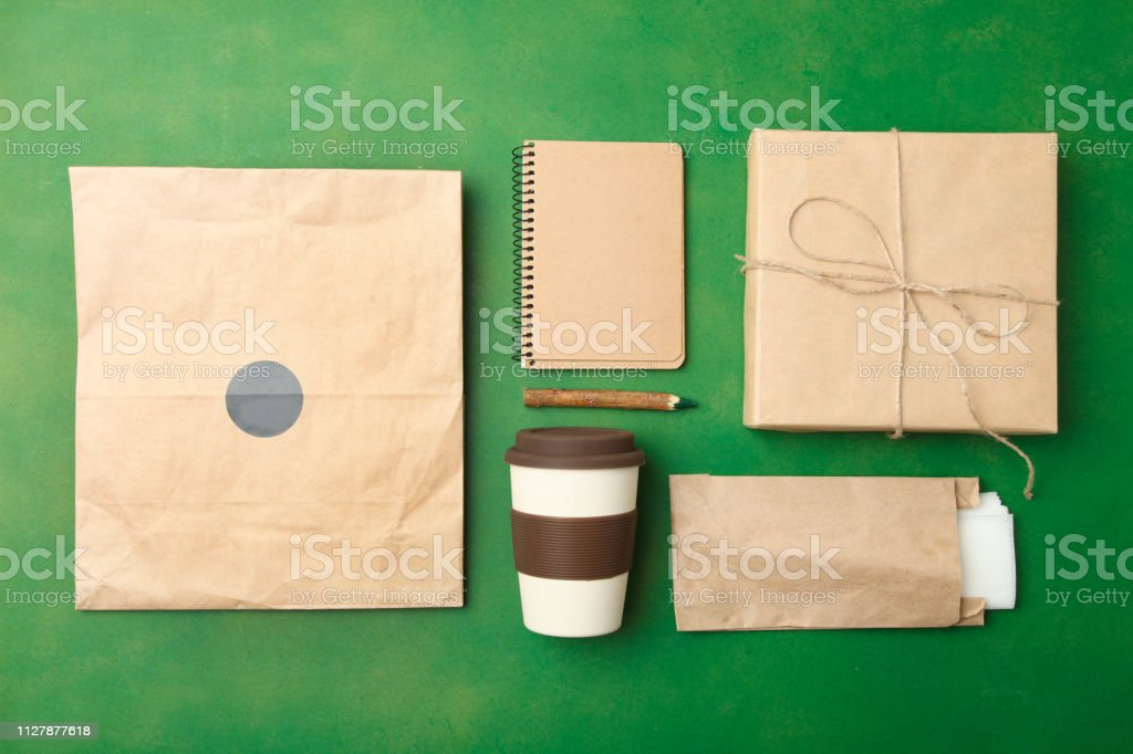 bamboo glass and craft paper packaging stock photo
