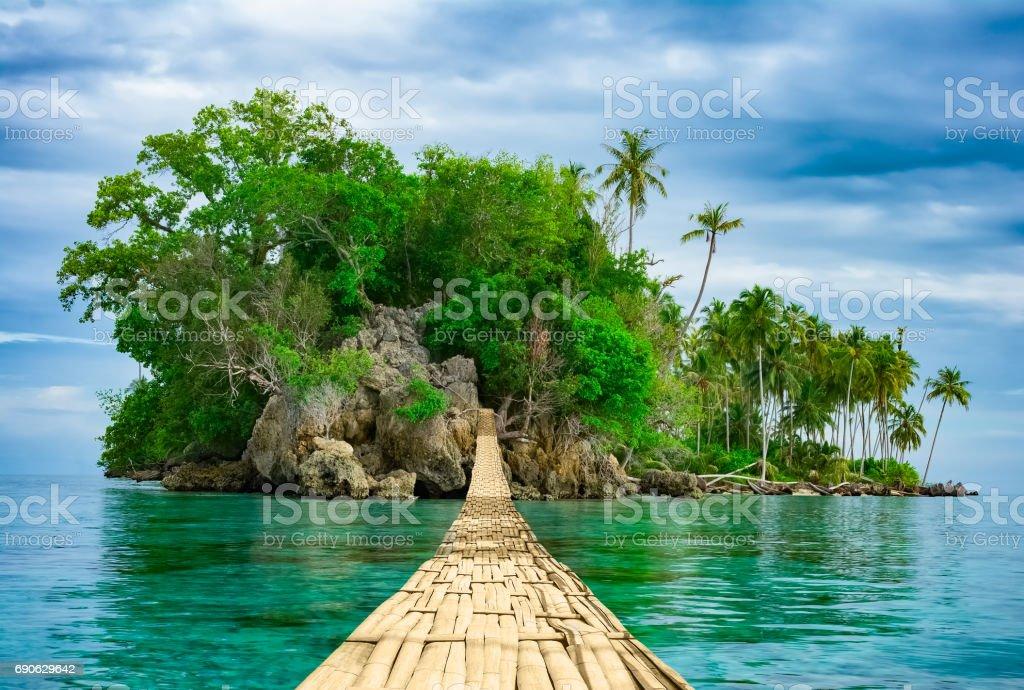 熱帯の島に海の上の橋にぶら下がって竹 ストックフォト