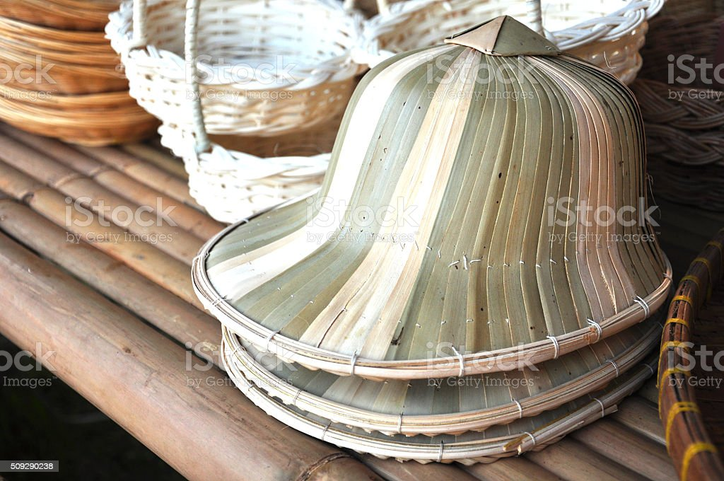 Bamboo hats at asian market,beautiful handmake hat stock photo