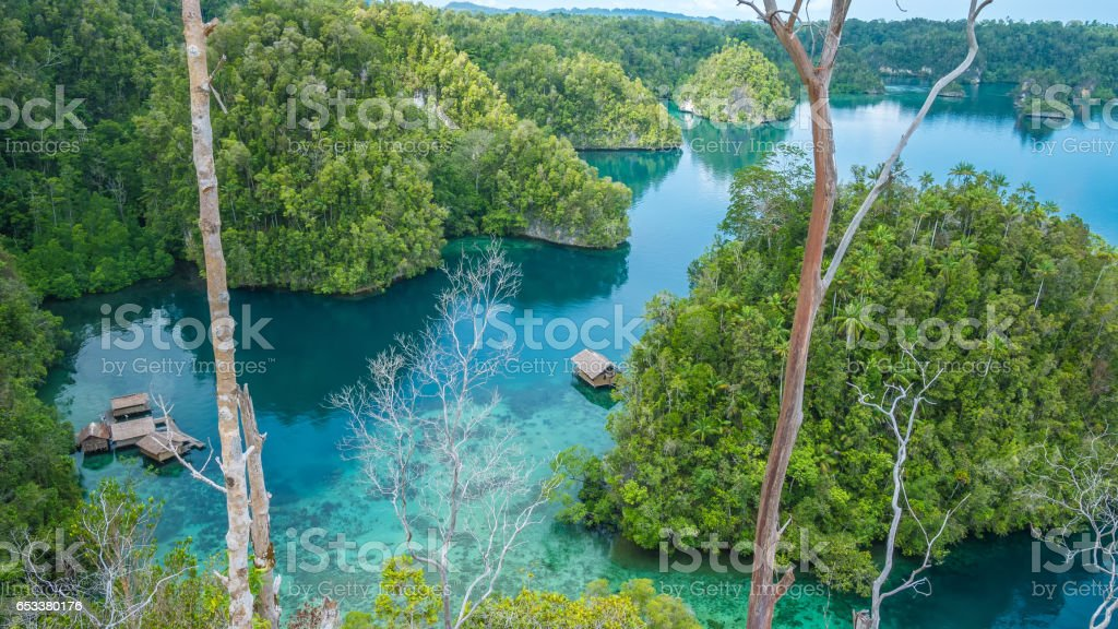 Bamboo Hut in Mangrove near Warikaf Homestay, Kabui Bay and Passage. Gam Island, West Papuan, Raja Ampat, Indonesia stock photo
