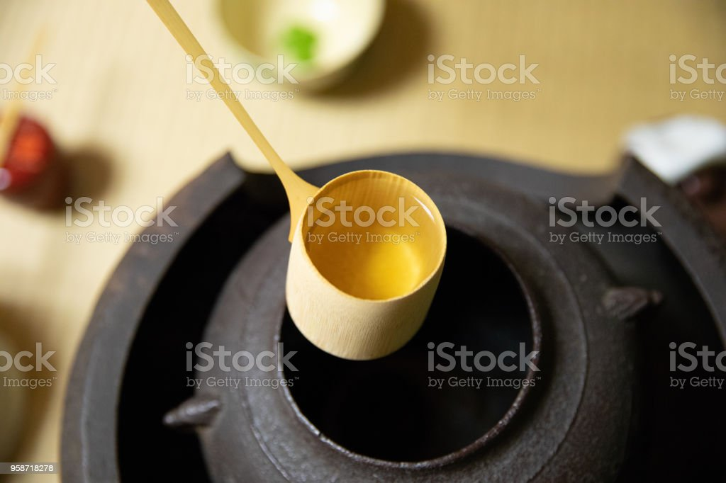 Bamboo ladle stock photo
