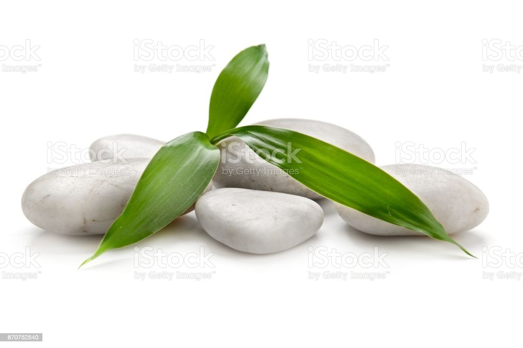 Bamboo leaf, Spa stones on a white background stock photo