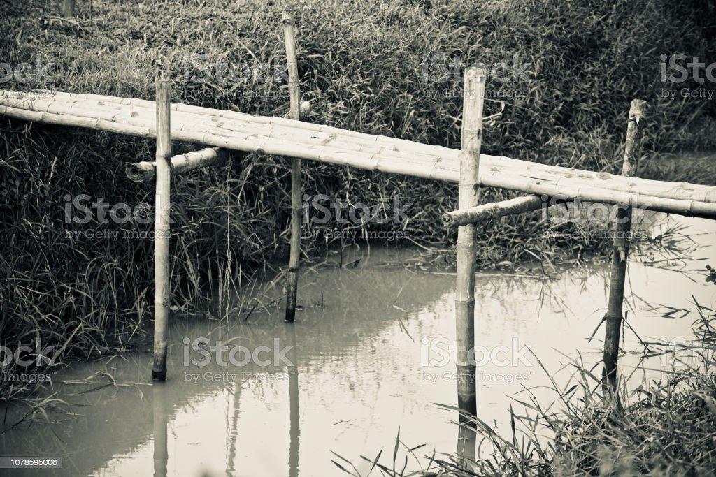 Bamboo made small bridge unique photo stock photo