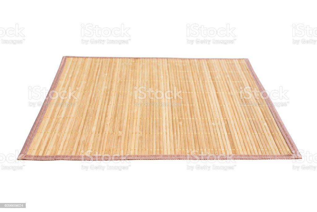 Bamboo mat isolated on white background stock photo