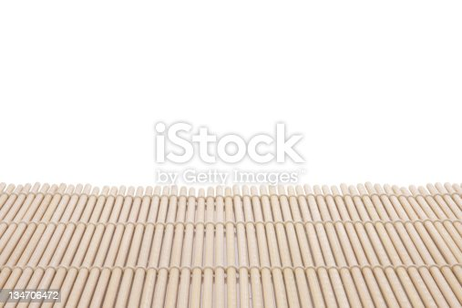 istock Bamboo mat on a white background 134706472