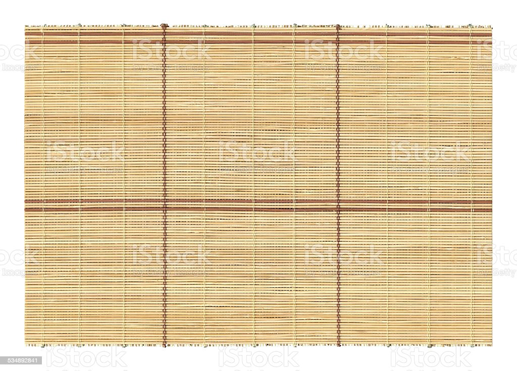 Bamboo mat textured background isolated stock photo