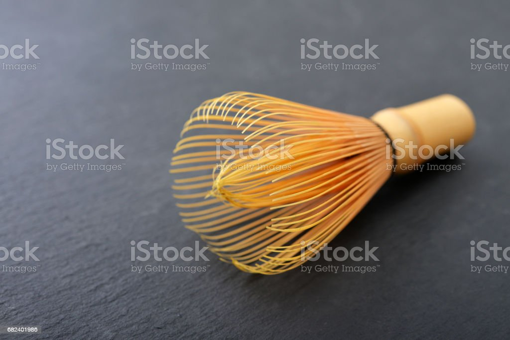 Bamboo matcha whisk stock photo