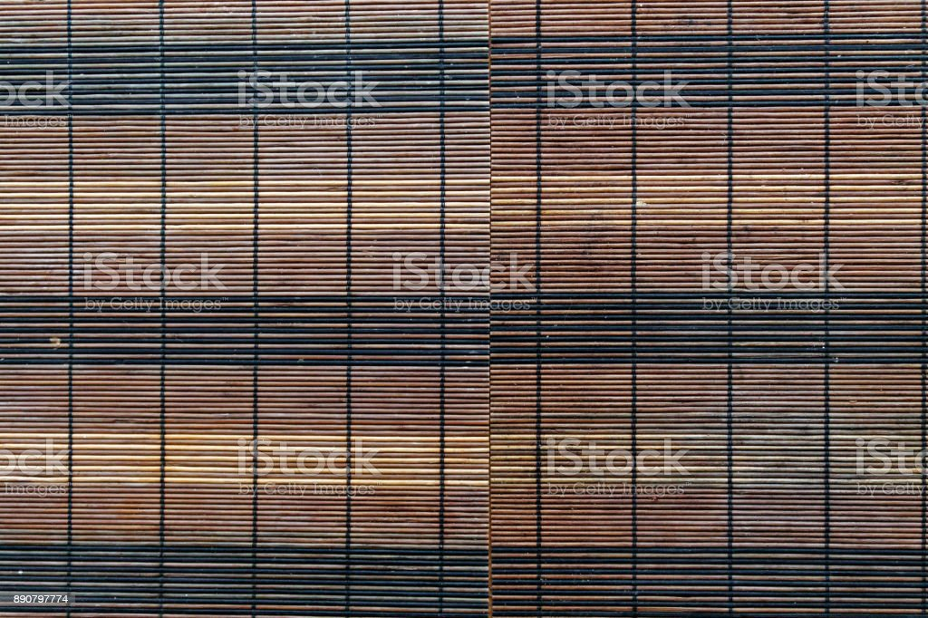 Bamboo napkin on table, top view stock photo