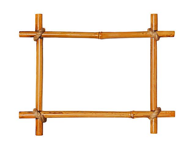Cadre photo en bambou isolé sur fond blanc. - Photo