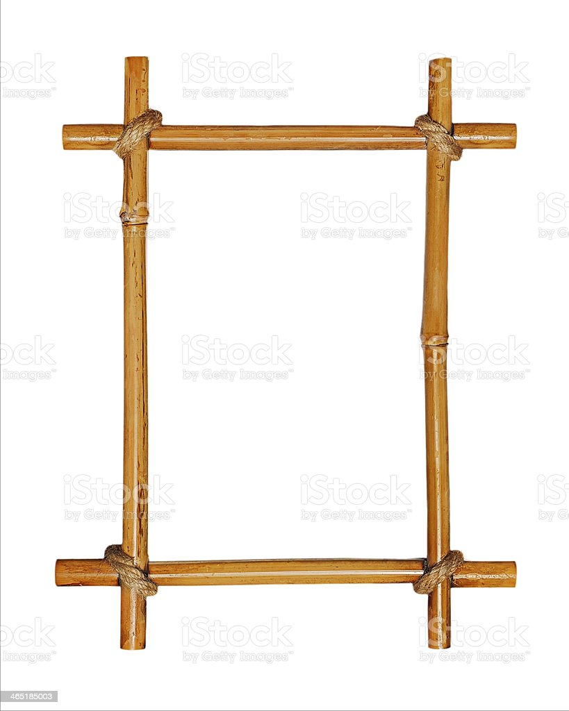 Bamboo picture frame with rope tying the pieces together stock photo