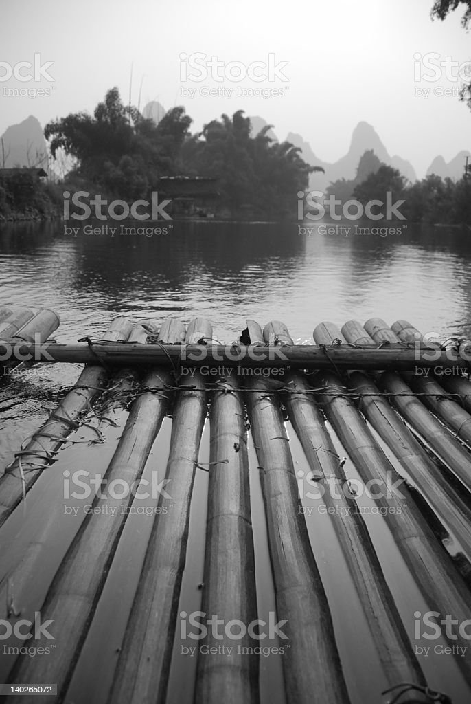 Bamboo raft along Li River royalty-free stock photo