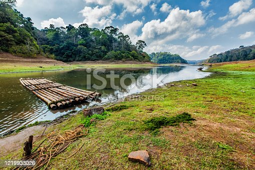 istock Bamboo raft in Periayar Wildlife Sanctuary, Periyar, Kerala, India 1219933026