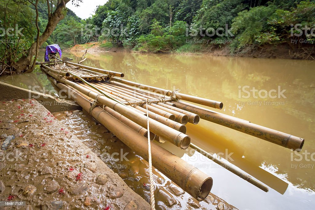 Bamboo raft on the river in Thailand stock photo