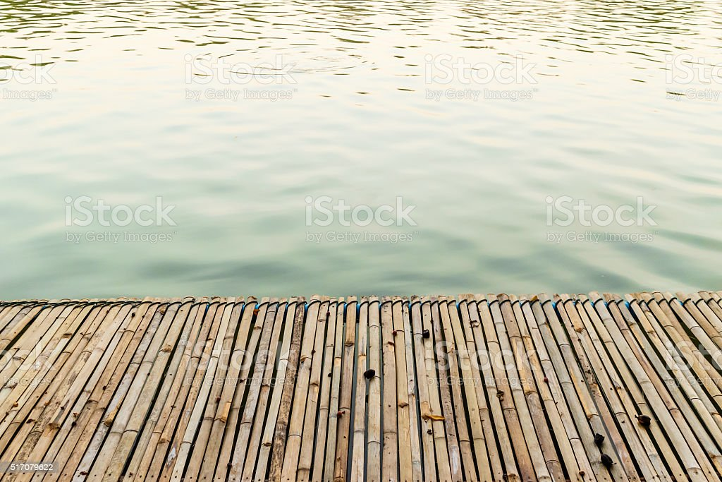 Bamboo raft stock photo
