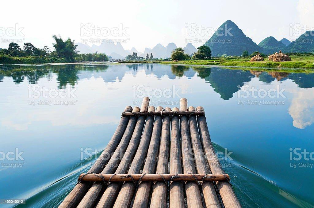 Bamboo rafting in Li River stock photo
