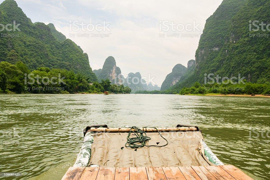 Bamboo rafting li river china stock photo