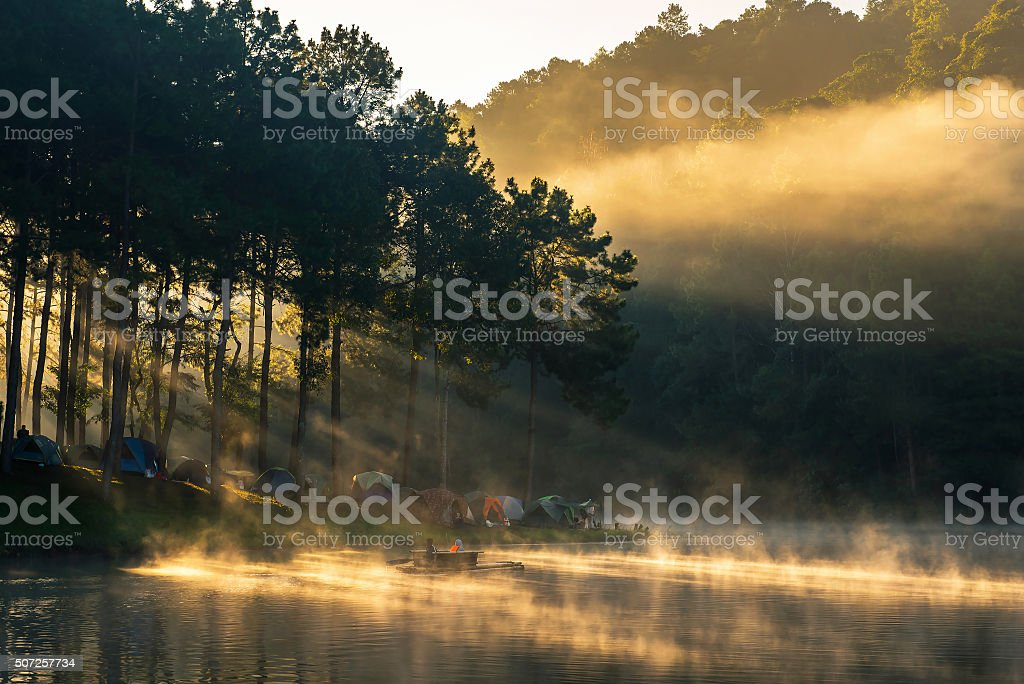 Bamboo rafting on river stock photo