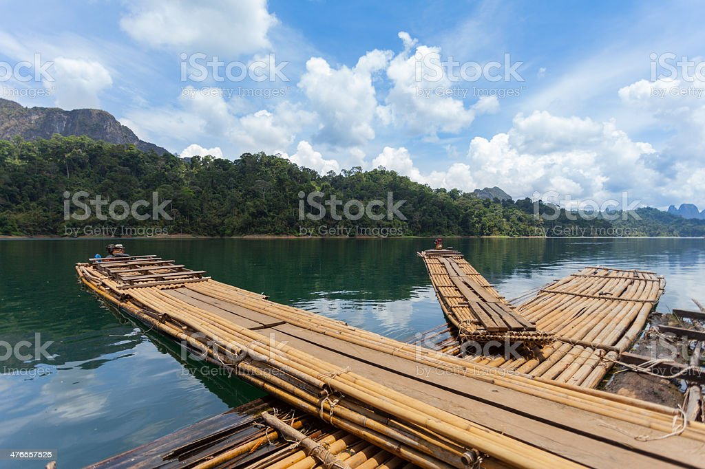 Bamboo rafting on river, ratchaprapha dam , Suratthani , Thailand stock photo