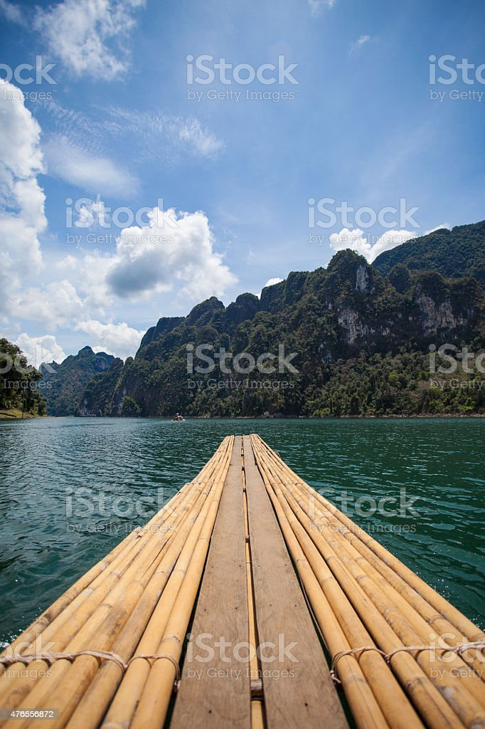 Bamboo rafting on water, Ratchaprapha dam, Suratthani province, Thailand stock photo