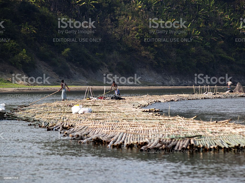 Bamboo rafts on the Sangu River in Bandarban stock photo