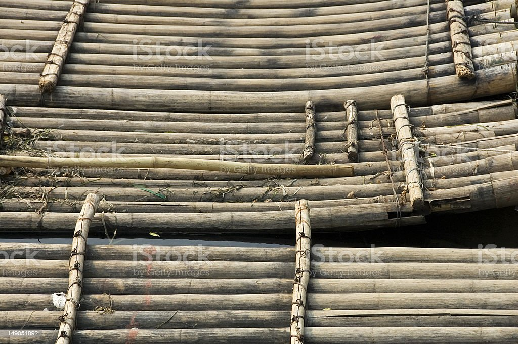 Bamboo rafts waiting for tourists stock photo