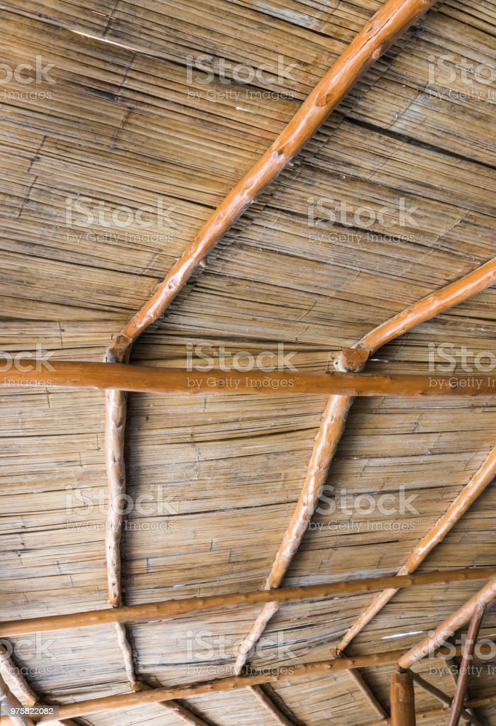 Bamboo roof of the wooden pavilion. stock photo