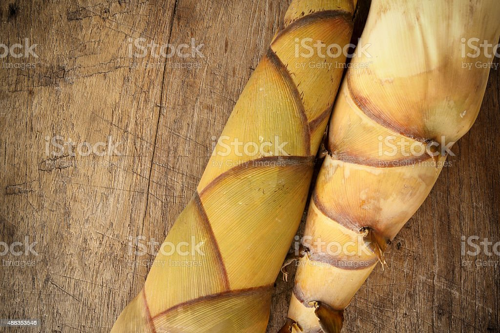 Bamboo shoot on wood background stock photo
