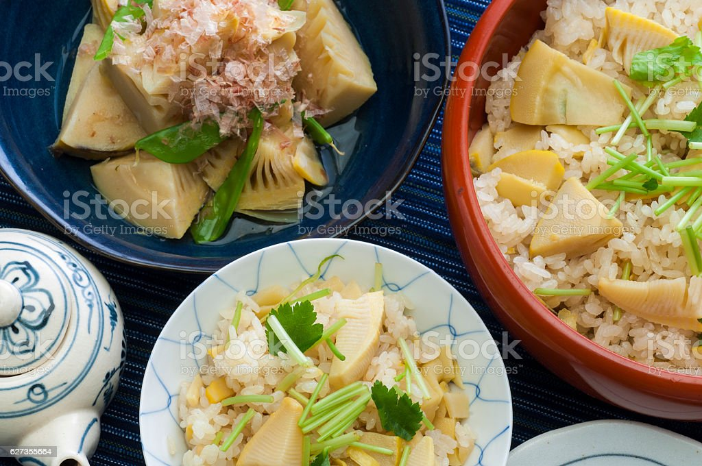 Bamboo shoot rice and boiled Takeo Tosa stock photo