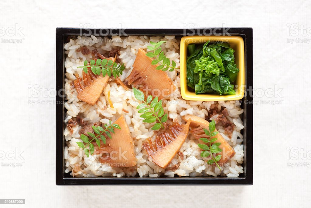 Bamboo shoots and beef of mixed rice lunch stock photo