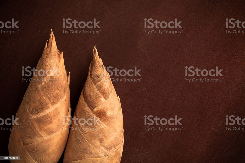 Bamboo sprout  on wooden board by top view stock photo