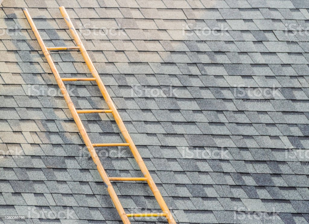 Bamboo stairs on the roof of a black tile. stock photo