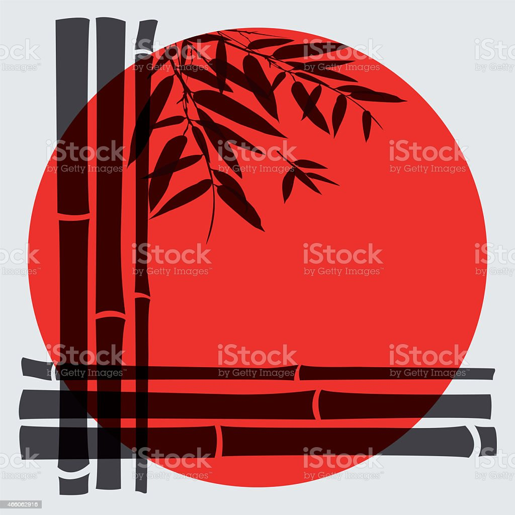 Bamboo trees and leaves with red sun. stock photo