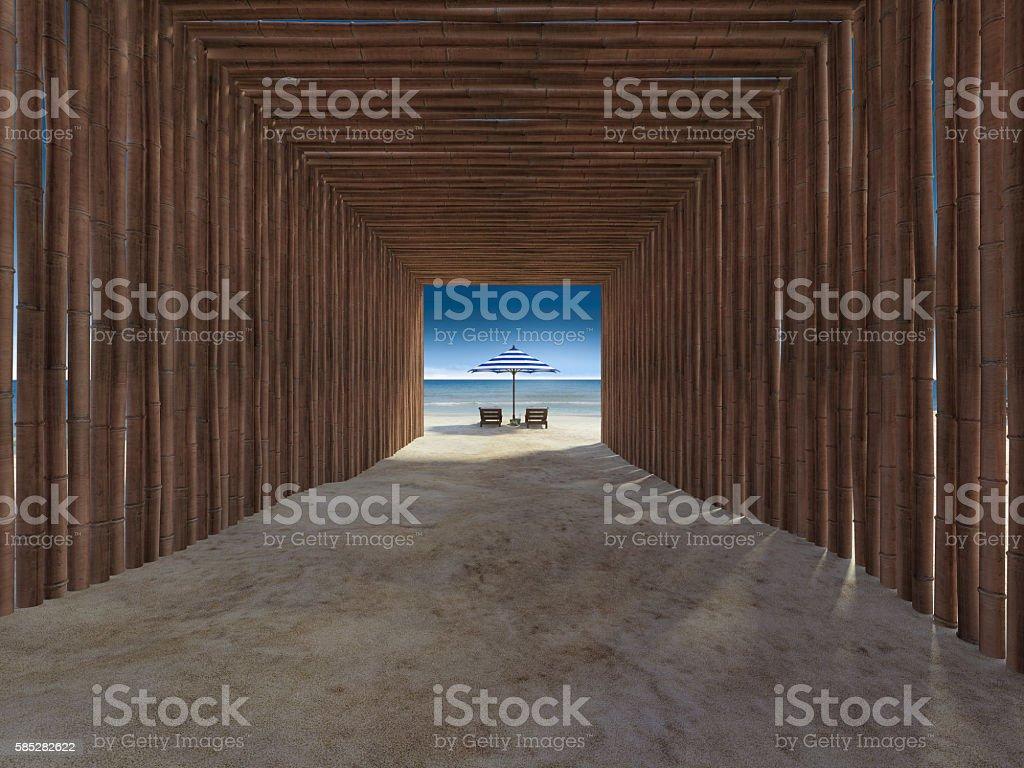 bamboo turnel cover walkway to the beach stock photo