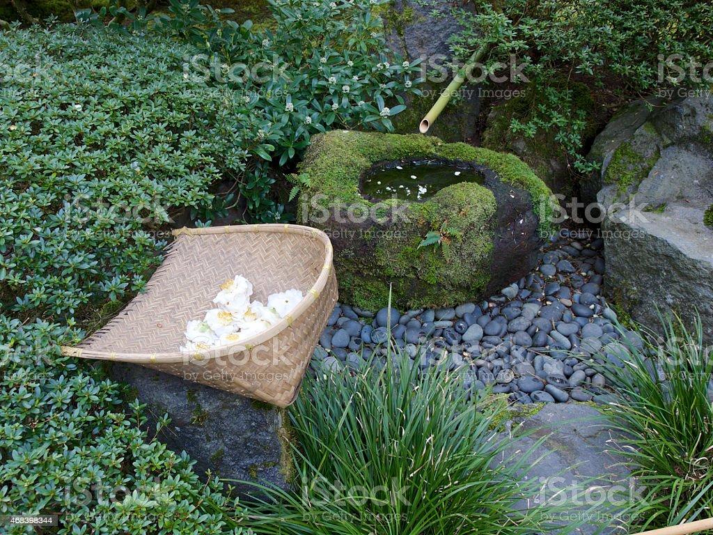 Photo de stock de Bambou Fontaine Avec Un Panier Le Jardin Japonais ...