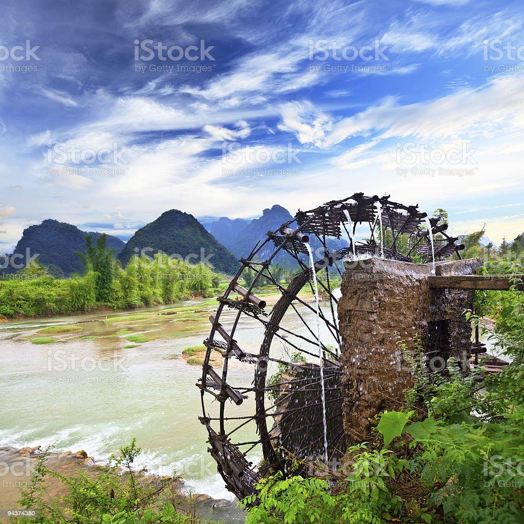Bamboo water wheel royalty-free stock photo