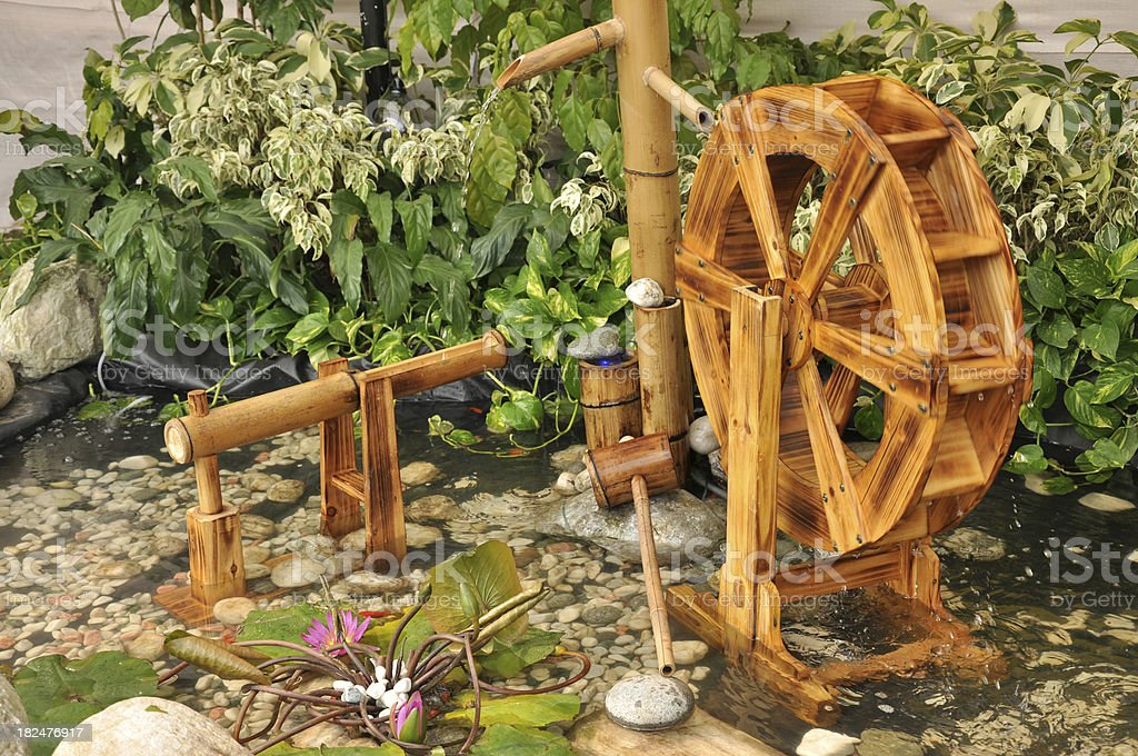 Bambus Waterwheel Dekoration Im Teich Garten Lizenzfreies Stock Foto