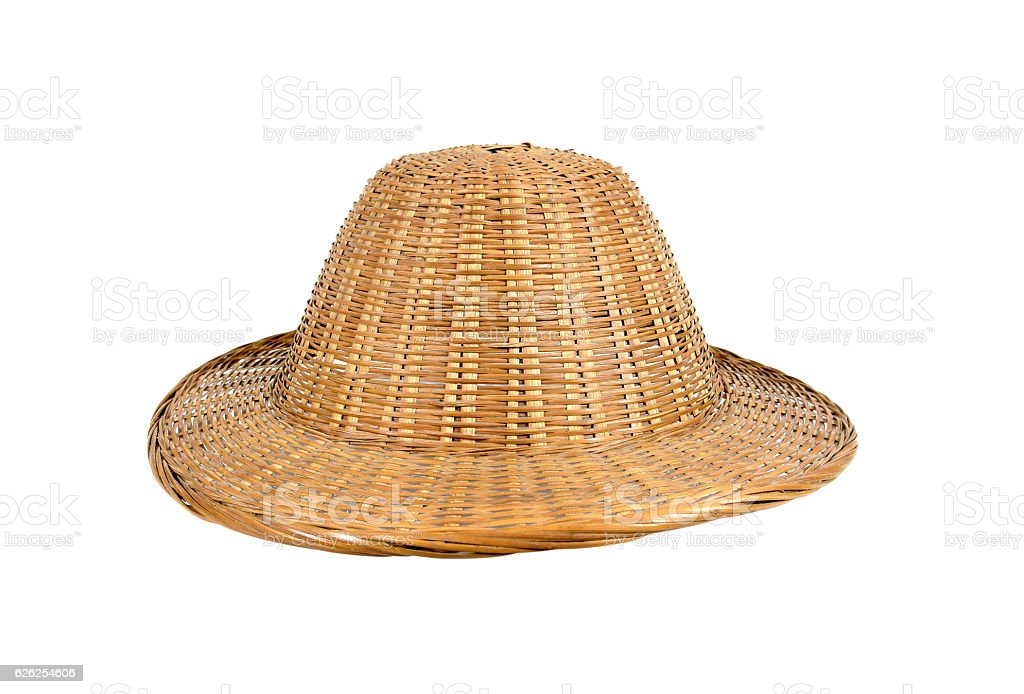 Bamboo weave hat isolated on white background stock photo
