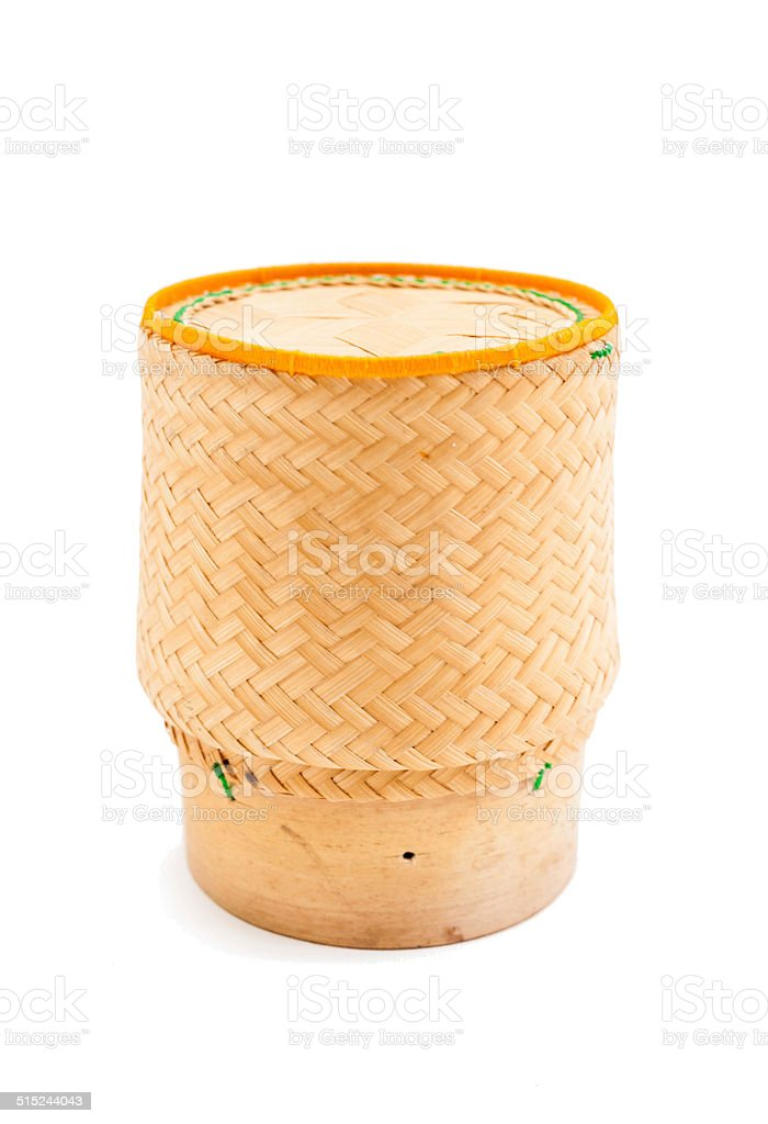 bamboo wooden box for sticky rice stock photo