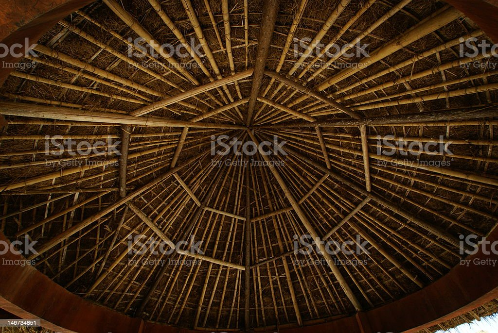 Bamboo Wooden Ceiling stock photo