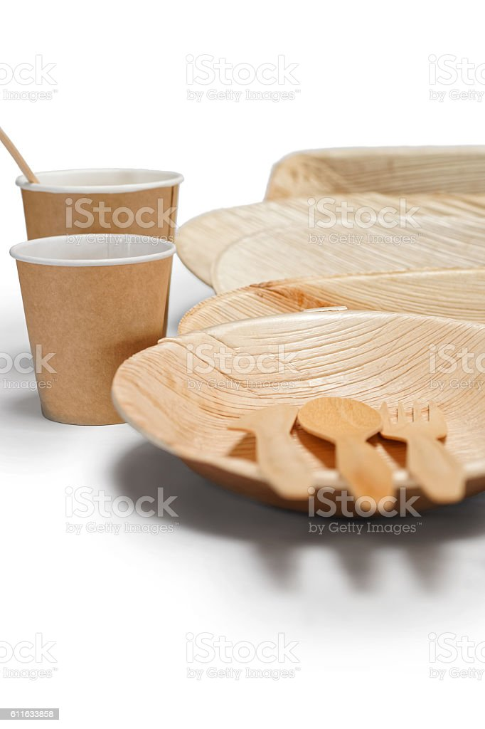 Bamboo wooden tableware isolated on the white stock photo