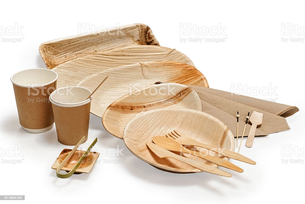 Bamboo wooden tableware isolated on white stock photo