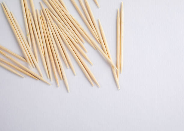 Bamboo wooden toothpicks stock photo
