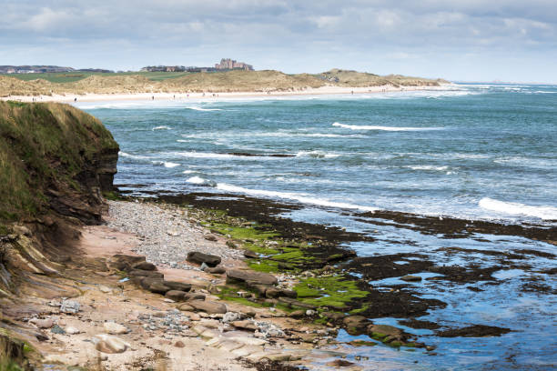 bamburgh beach and castle - stephen lynn stock pictures, royalty-free photos & images
