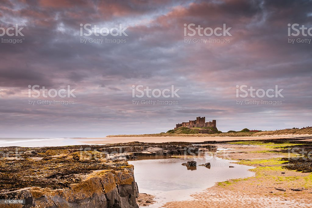 Bamburgh Castle after dawn stock photo