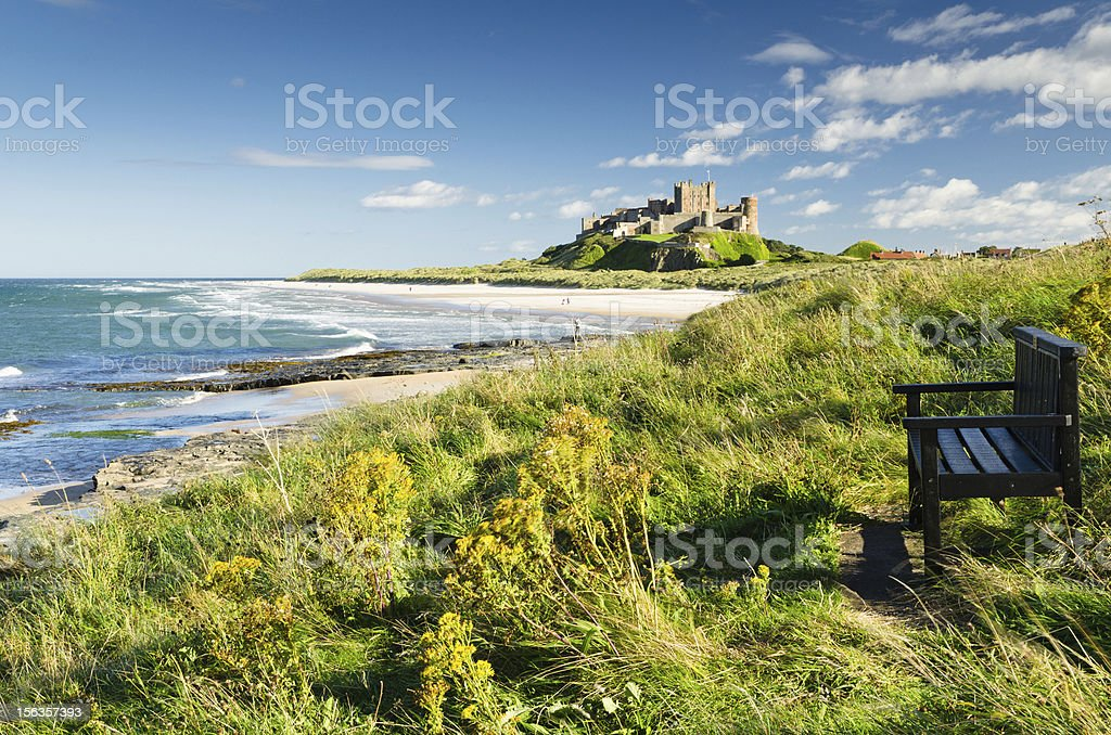 Bamburgh Castle and seat stock photo