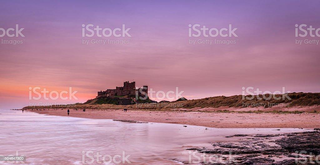 Bamburgh Castle at dusk stock photo