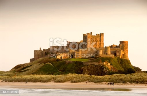 Bamburgh Castle in Northumberland, England taken at dusk