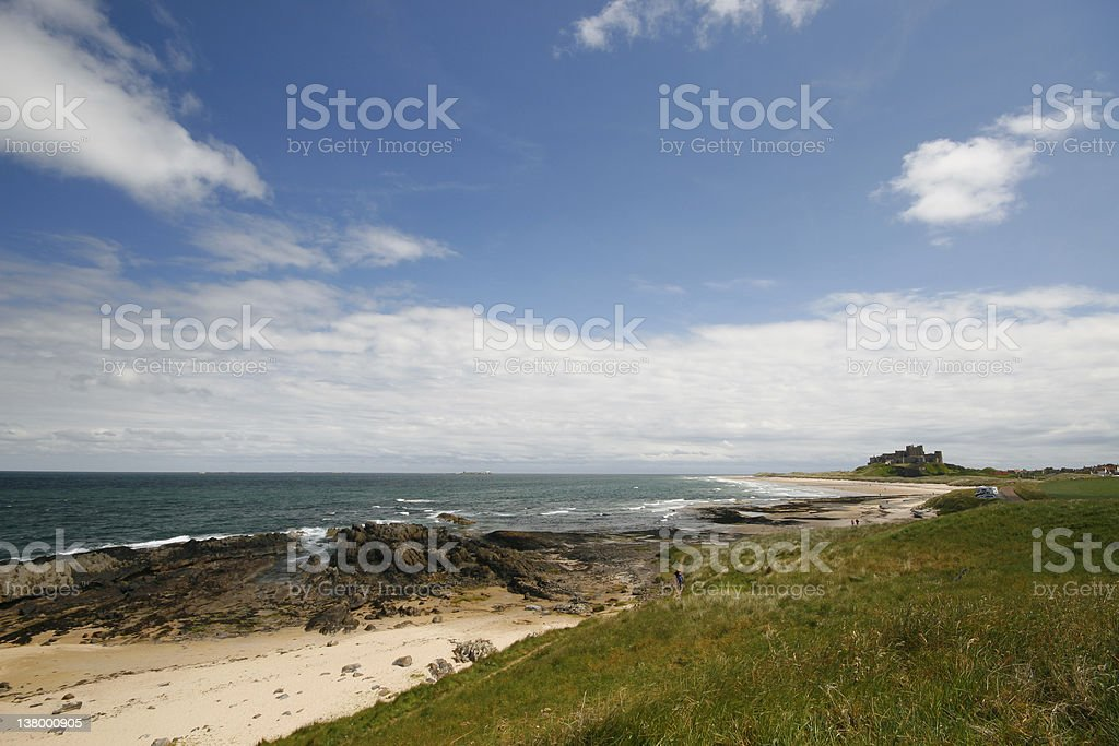 Bamburgh Castle from the golf course  royalty-free stock photo